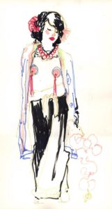 Hommage à Paul Jacoulet, dessin de Mary Oldlife